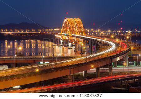 Han river with Seongsan bridge at night in Seoul Korea (long exposure)