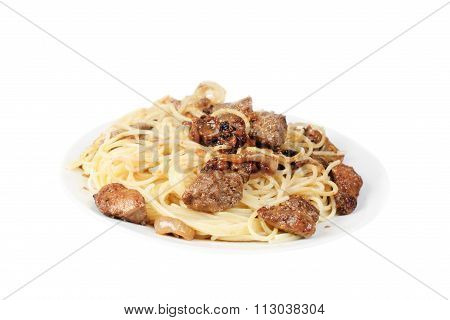 Liver And Spagetti On Plate Isolated On White Background