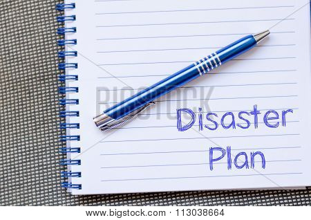 Disaster Plan Write On Notebook