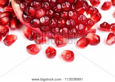 Pomegranate Sliced Close-up Image As Background