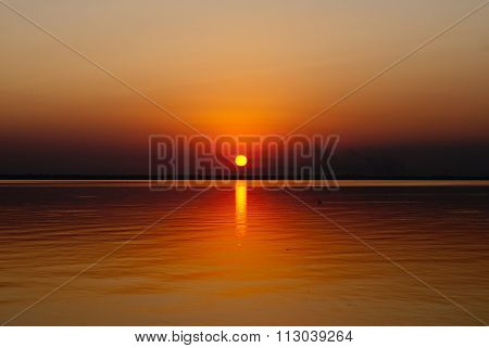 Sunset Over The Dniester Estuary, Watch, Odessa Region, Ukraine, In July 2015.