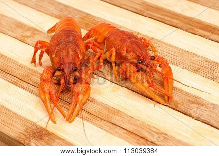 Two Boiled Red Cancer Close-up On Wooden Background