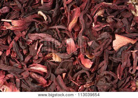 Hibiscus Tea Macro Dry Flower Texture.