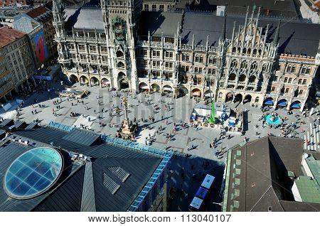 Panorama of Munich. View of the Marienplatz