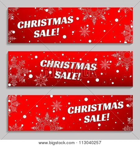 Snow and snowflakes on a red background, banners set. Christmas Sale, winter sale, New year Sale ban