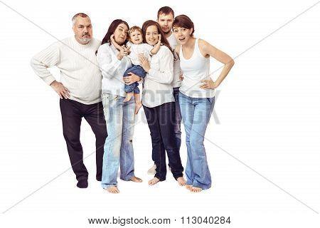 Big family isolated white background