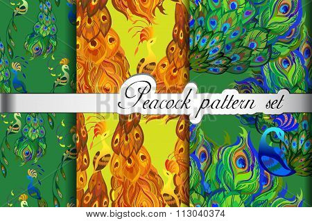 Abstract seamless patterns set, gold green peacock feathers. Vector illustration