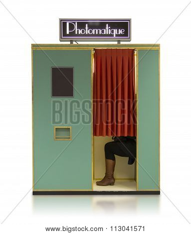 Vintage Style Photo Booth Vending Machine On A White Background
