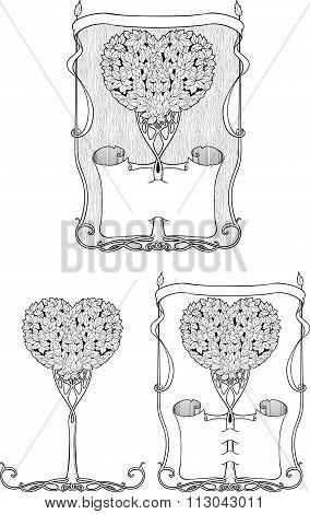 set of three heart-shaped trees