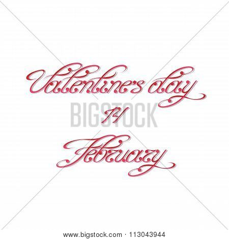 Handwritten calligraphic inscription for Valentine's Day