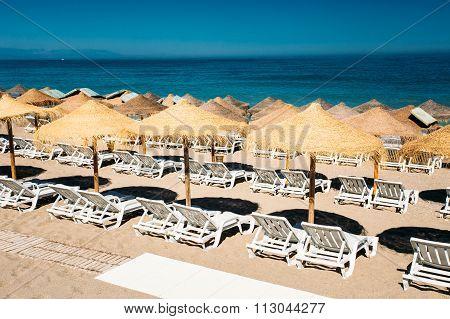 Row beach-chairs the Mediterranean Sea