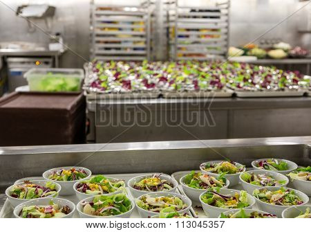 Salad Preparation Area In Commercial Kitchen