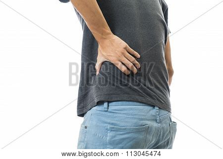 Man body discomfort lower back pain on whit background,