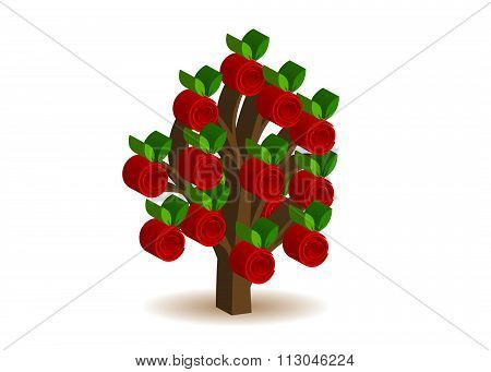 icon a tree with roses.