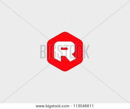 Abstract letter R logo design template. Colorful creative hexagon sign. Universal vector icon.
