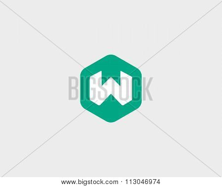 Abstract letter W logo design template. Colorful creative hexagon sign. Universal vector icon.