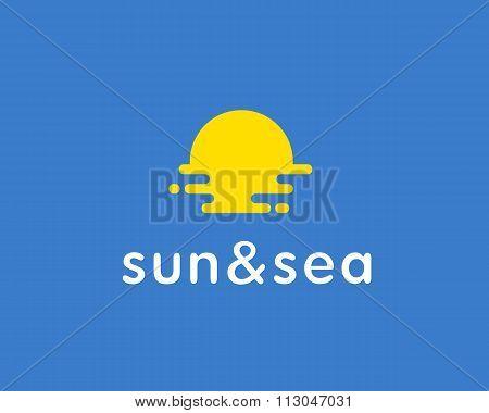 Sun, sea, travel vector logo. Universal modern tourist symbol. Vocation, beach, sunrise, sunset, fre