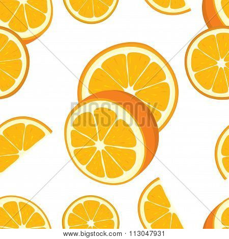 Vector seamless background of orange slices.