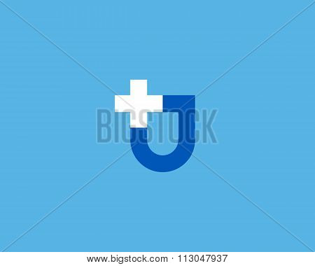 Abstract shield cross plus vector logo design. Additional protection, insurance creative idea symbol