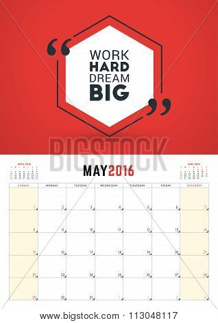 May 2016. Wall Calendar Planner For 2016 Year. Week Starts Sunday. Vector Design Print Template With