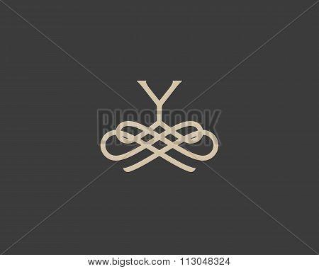 Abstract monogram elegant flower logo icon design. Universal creative premium letter Y initials orna
