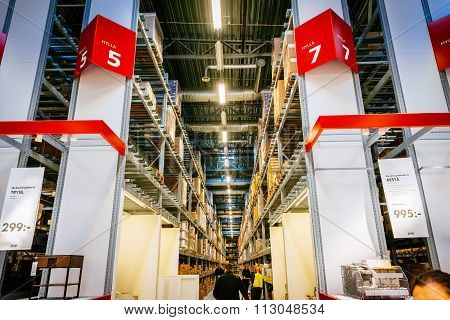 Malmo, Sweden - January 2, 2015: Interior Of Large Ikea Storehouse With A Wide Range Of Products In