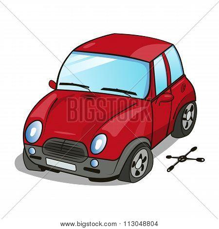 Cartoon Car With A Broken Wheel