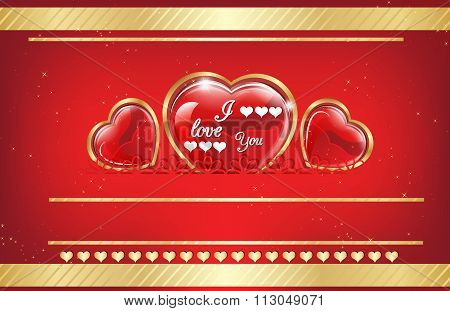 Elegant golden red backgrounds with hearts,