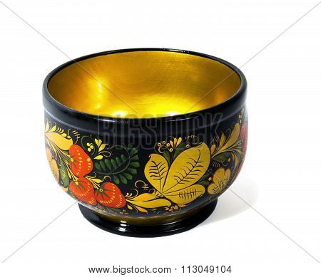 Wooden bowl, painted in the style of Khokhloma