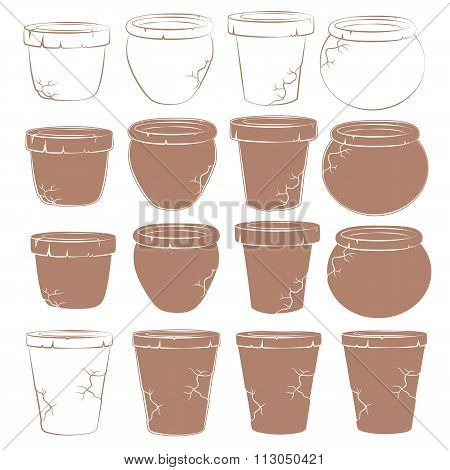 Vector set of old clay pots for flowers. Isolated objects