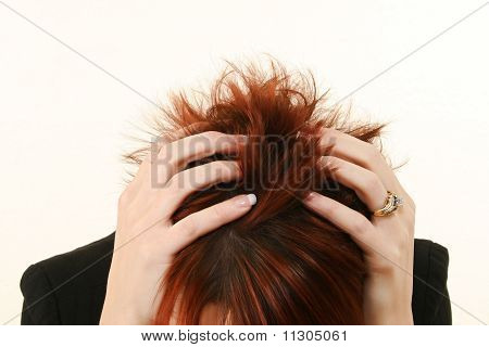 Stressed Redhead Woman