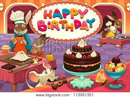 Happy Birthday card with funny pastry chef animals. Vector cartoon illustration