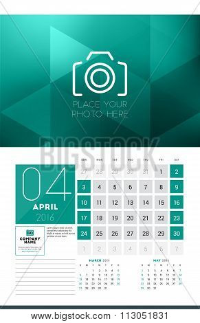 Calendar For 2016 Year. April. Vector Design Clean Template With Modern Abstract Background, Logo An