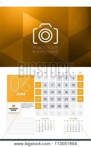 Calendar For 2016 Year. June. Vector Design Clean Template With Modern Abstract Background, Logo And