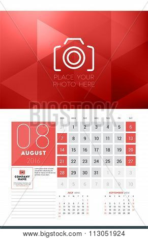 Calendar For 2016 Year. August. Vector Design Clean Template With Modern Abstract Background, Logo A