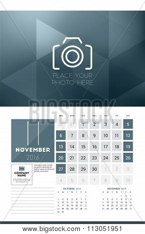 Calendar For 2016 Year. November. Vector Design Clean Template With Modern Abstract Background, Logo
