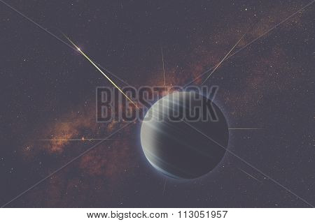 Planets and meteors on a starry background.