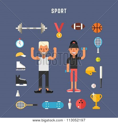 Set Of Vector Icons And Illustrations In Flat Design Style. Sport Concept. Male And Female Cartoon C