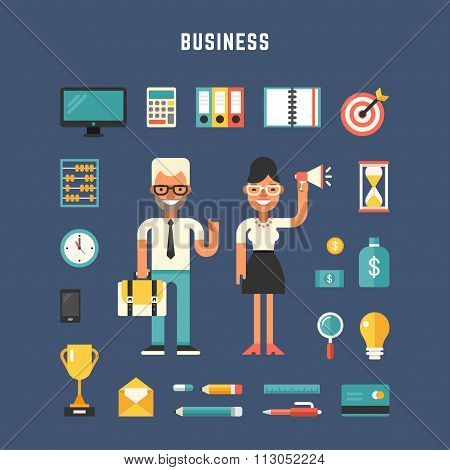 Set Of Vector Icons And Illustrations In Flat Design Style. Male And Female Cartoon Characters Busin