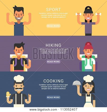 Set Of Flat Style Vector Conceptual Illustrations For Web Banners. People Occupation. Sport, Hiking,