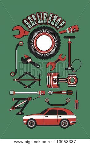 Set Of Tools For Repairing Cars