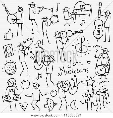 Musicians doodles set