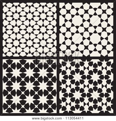 Set Of Four Vector Seamless Black And White Islamic Stars Tessellation Geometric Pattern
