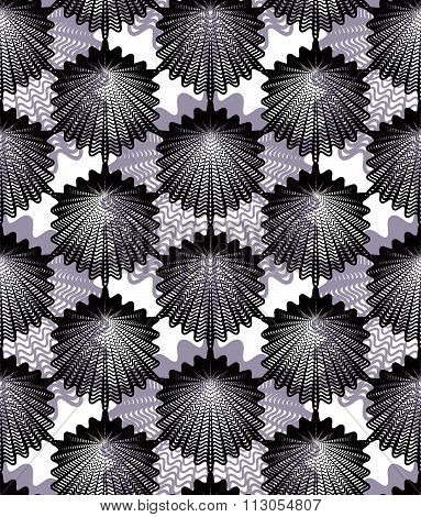 Black And White Illusive Abstract Seamless Pattern With Overlapping Geometric Shapes. Vector