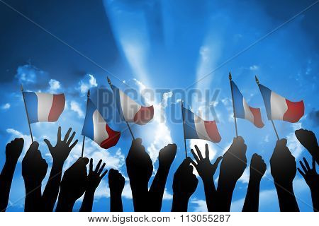 Group Of People Waving Small France Flag