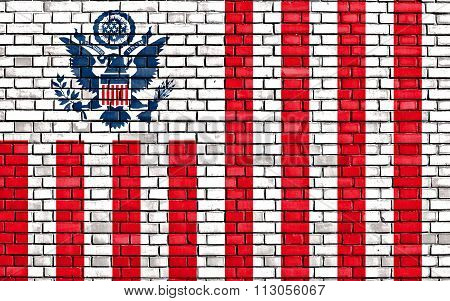 Flag Of United States Customs Service Painted On Brick Wall