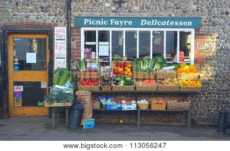 Green grocers store front Cley Norfolk England.
