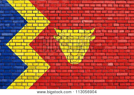 Flag Of Birmingham Painted On Brick Wall