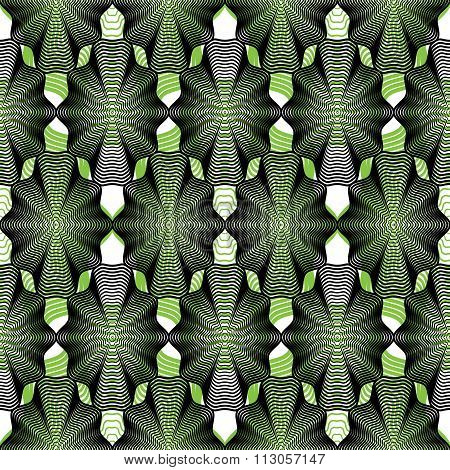 Continuous Vector Pattern With Graphic Lines, Decorative Abstract Background With Overlay Shapes.