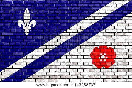 Flag Of Franco-albertans Painted On Brick Wall